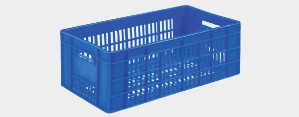 Caja perfada almacenaje azul